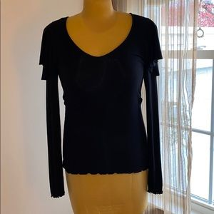Free People Black Super Soft L/S Top Sz L